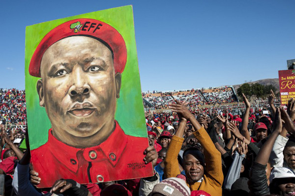 EFF supporters at the celebration of the party's second anniversary on July 25, 2015, at the Olympia Park Stadium in Rustenburg. (AFP/Stefan Heunis)