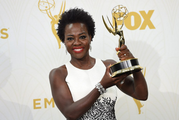 Viola Davis in the press room during the 67th Emmy Awards, September 20, 2015 at the Microsoft Theatre in downtown Los Angeles. (AFP)