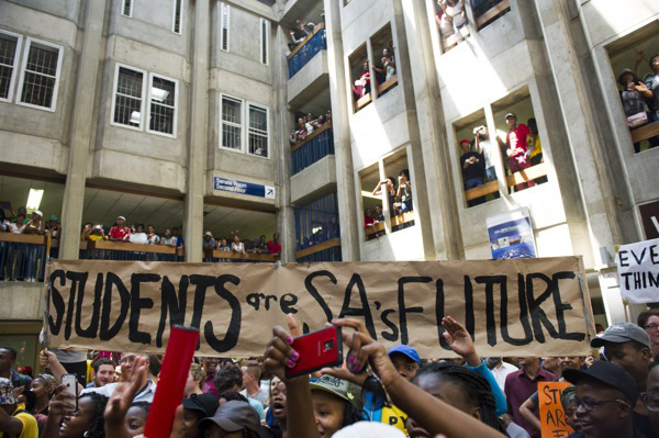 Wits university students occupy Senate House October 20, 2015. Photo: M&G