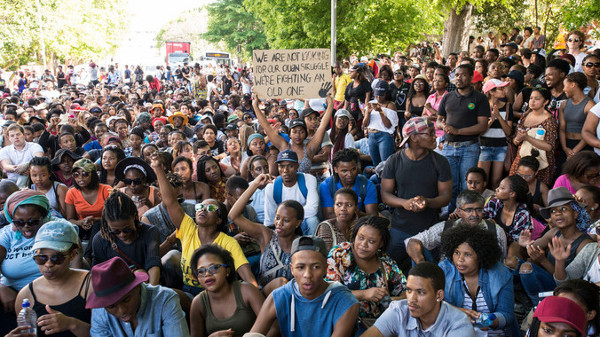 UCT students protest against higher education fees. (David Harrison)