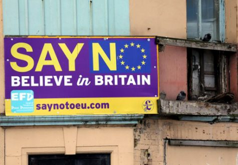 """Say No Believe in Britain"" boards are displayed on a building in Redcar, north east England on June 27, 2016. Britain's dramatic vote to quit the European Union was driven by millions of people in the post-industrial north and centre of England, in working-class towns like Redcar, on the northeast coast. The strength of feeling may have stunned metropolitan Britain, but came as no surprise in places like Redcar, where 66.2% ultimately voted to leave the EU. (Scott Heppell / AFP)"
