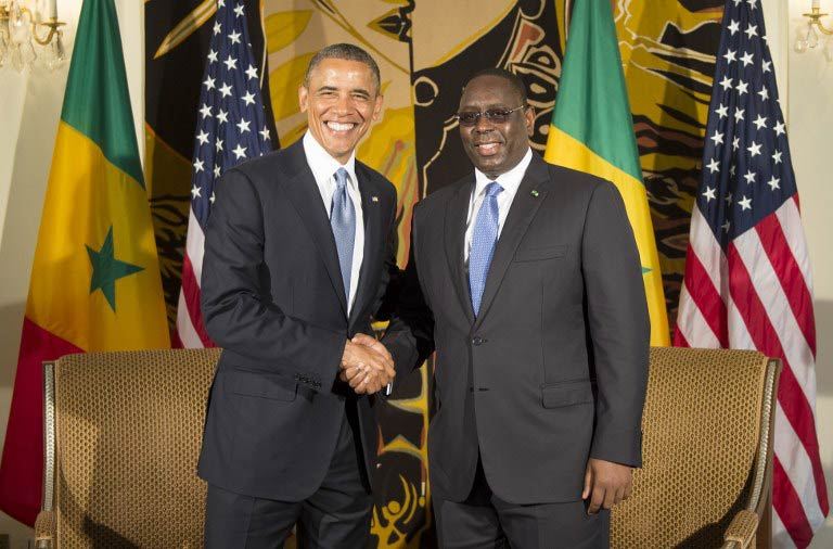 Barack Obama meets Senegal's President Macky Sall for bilateral talks at the presidential palace in Dakar on June 27 2013. (AFP)