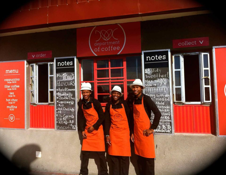 Owners Vuyile Sweetness, Vusumzi Mamile and Wongama Baleni outside Department of Coffee. (Pic: Facebook)