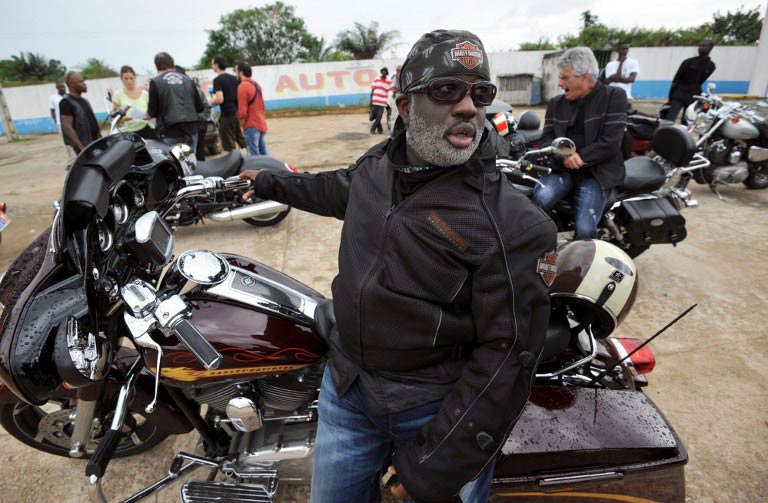 The Elephant's Bikers club, an Ivorian version of Hells Angels, was created ten years ago to commemorate Harley Davidson's centenary. (Pic: AFP)