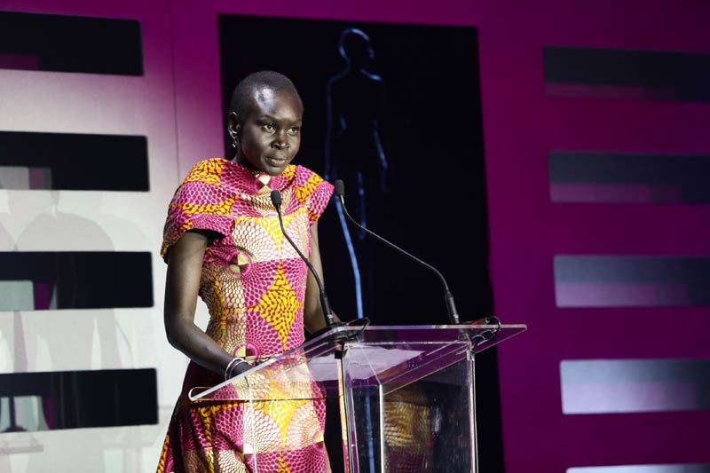 Alek Wek speaking at a press conference in Johannesburg on November 2. (Pic: Supplied)