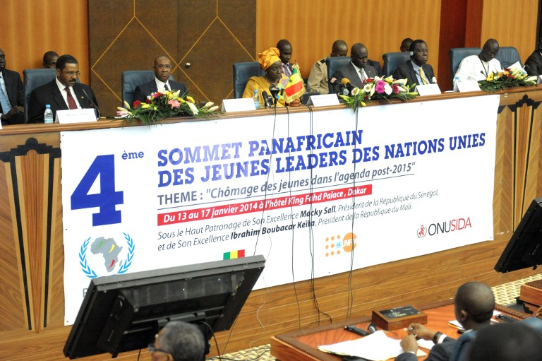 Prime Minister of Senegal Aminata Toure (3rd L) attends the 4th Pan-African Youth Leadership Summit focusing on unemployment in January 13, 2014.