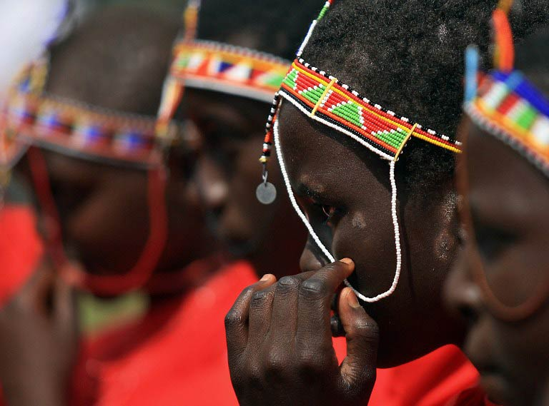 Kenyan teenage Maasai girls attend an alternative right of passage on April 19 2008 at a ceremony organised by an anti-female genital mutilation campaign, Cherish Others Organisation. (Pic: AFP)