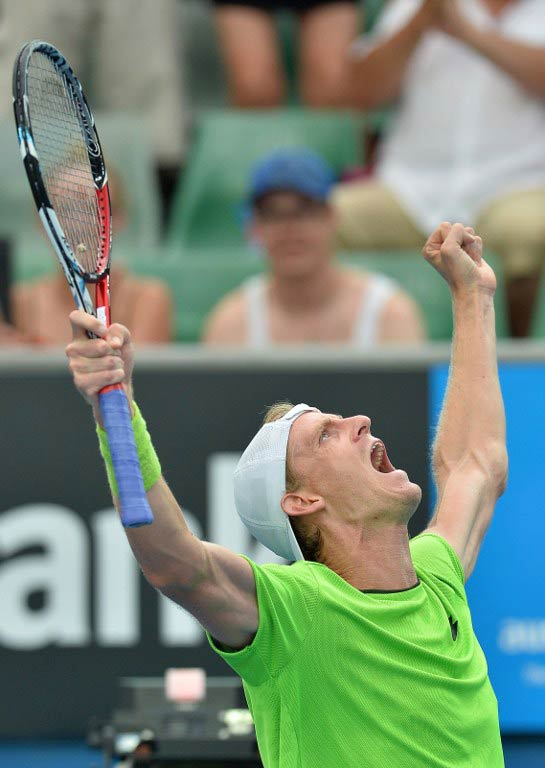 South Africa's Kevin Anderson celebrates his victory against France's Edouard Roger-Vasselin during their men's singles match on day five of the 2014 Australian Open. (Pic: AFP)