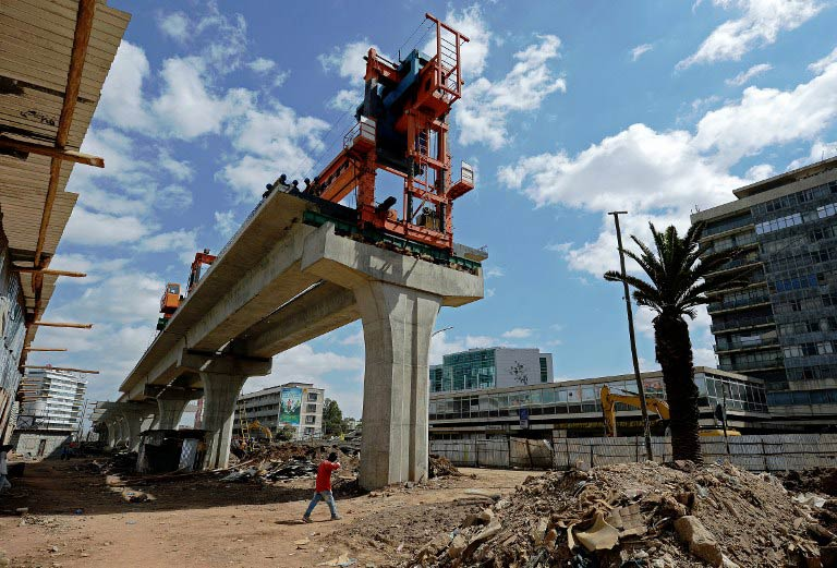 A light railway under construction in Addis Ababa on January 15 2014. The Addis Ababa Light Railway system contracted by the China Railway Group Limited will have a total of 41 stations. (Pic: AFP)