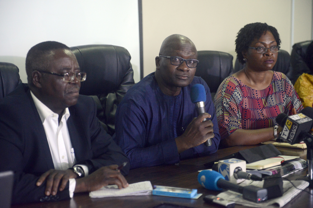 Lagos health commissioner Jide Idris (centre), Nigerian Centre for Disease Control director Professor Abdulsalam Nasidi (left) and special adviser to Lagos state governor Yewande Adeshina discuss the Ebola outbreak during a briefing in Lagos on July 28 2014. (AFP)