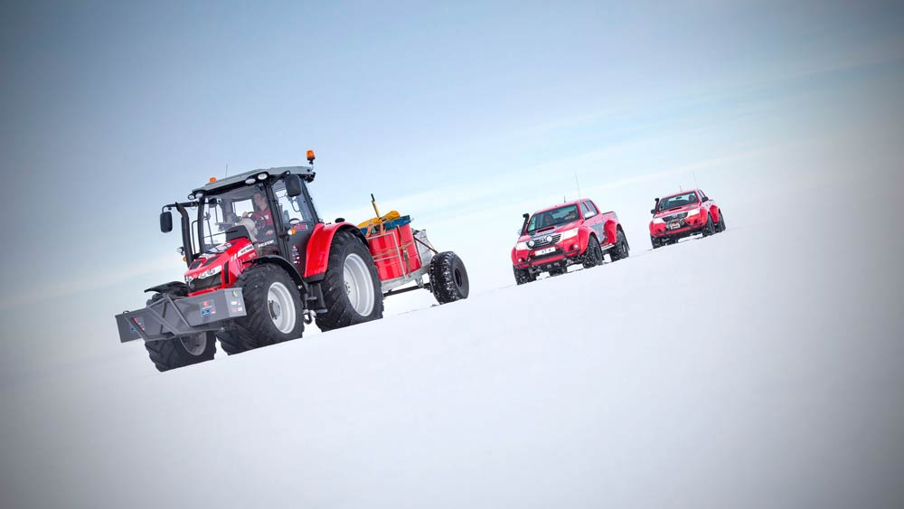 The MF 5610 and support vehicles for the trip to the South Pole. (Supplied)