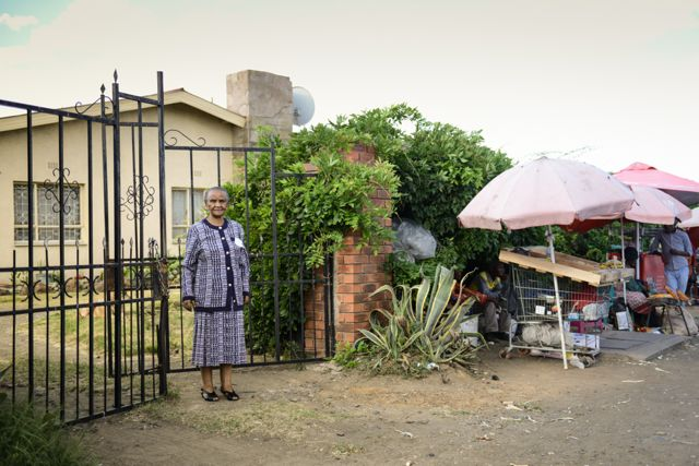Mosala outside her home in Maseru. (Pic: Meri Hyöky)
