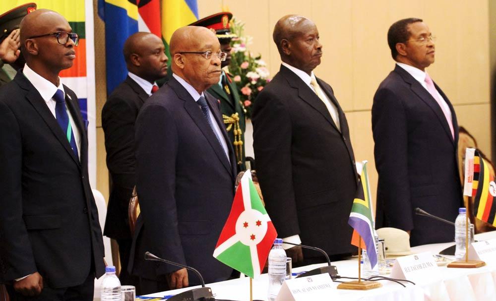 (L to R) Burundi Foreign Minister Alain Aime Nyamitwe, South African President Jacob Zuma, Ugandan President Yoweri Museveni and Tanzanian President Jakaya Kikwete attend the summit to discuss the crisis in Burundi. (Pic: Reuters)