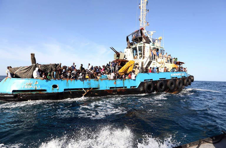 Several hundred migrants, mostly Africans but also including many fleeing the civil war in Syria, leave Libya every day on rickety boats hoping to make it to Europe. (Pic: AFP)