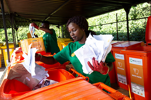 Sindisiwe Duma is making a difference by collecting and recycling waste at the recycling village in Hilton